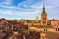 Segovia, Spain (Marian Pollock) Tags: europe spain segovia rooftops skyline sky architecture buildings terracota clouds tiles city golden
