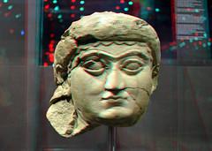 Nineveh RMO Leiden 3D (wim hoppenbrouwers) Tags: nineveh rmo leiden 3d anaglyph stereo redcyan portrait head sculpture iraq ancient assyrian