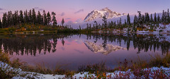 Picture Lake/Mt. Shuksan Fall Color Reflections (PatrickDillonPhoto.com) Tags: mtshuksan mtbakernationalforest washingtonstate glaciers snow sunset sunrise beltofvenus landscapephotography creation god wonders refections nature hiking lake clouds fall fallcolors peaks