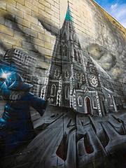 Resurrecting Christchurch (Steve Taylor (Photography)) Tags: foreverinourmemories jonny4higher cathedral wizard spell pest5 art graffiti mural streetart building blue brown grey magic newzealand nz southisland canterbury christchurch cbd city perspective