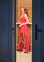 Hello (photogo.pl) Tags: lady ladyinred coctaildress dress door night party wood woman female girl