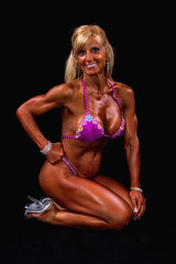 Hot Female Fitness Contestant (Rick Drew - 19 million views!) Tags: fitness workout model heels bikini blonde pose posing posed sitting kneeling rip ripped healthy fit