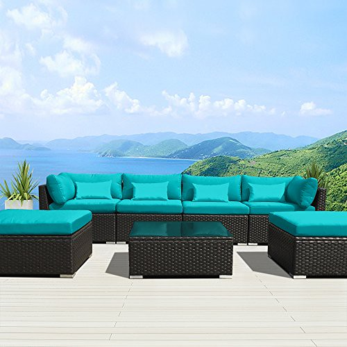 Modenzi 7C-U Outdoor Sectional Patio Furniture Espresso Brown Wicker Sofa Set (Turquoise) For Sale