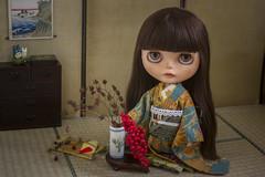 ikebana (JennWrenn) Tags: blythe doll custom lorshekmolseh learning japanese culture practicing ikebana kado thewayofflowers tatami kimono woodcut print mokuhanga ukiyoe totoro miniature diorama meredith