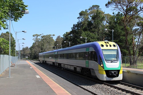 Bendigo VLocity train arriving at Macedon Railway Station