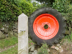 Cemaes Head Walk-20170722-0452.jpg (llaisymor) Tags: cemaeshead red tyre artefact art colour coastpath shape wheel object farm wales coast pembrokeshire walk