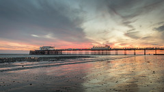 sunset at the pier (Emma Varley) Tags: worthingpier sunset sand colour clouds pink orange worthingbeach worthing westsussex november seaside uk sea