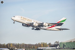 Up Crisp n Early (alundisleyimages@gmail.com) Tags: airbus a380 emirates flight takeoff airport manchesteregcc transport