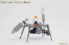 01_Clockwork_Mining_Drone (LegoMathijs) Tags: lego moc legomathijs steampunk steampowered clockwork mining drone drill gear iron exhaust scifi