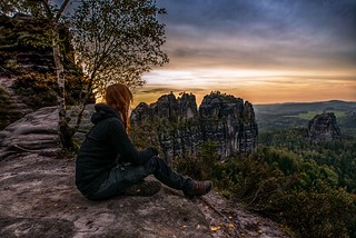 At a dizzy height in the saxon switzerland.