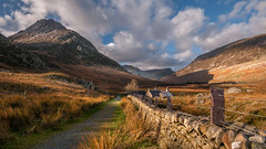 A walk in the park ....Snowdonia (Einir Wyn Leigh) Tags: landscape wales ogwen valley sunshine november walk mountain path house farm clouds autumn winter cold weather light stone wall outside nikon pleasure happy foliage grass orange uk britain rural blue countryside