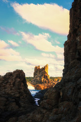 Cathedral Rocks (reggiepen) Tags: kiama nsw au newsouthwales australia cathedralrocks rockformation rocks clouds sky shore beach jonesbeach ngc
