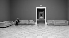 Alignment (toletoletole (www.levold.de/photosphere)) Tags: fujixpro2 stuttgart xf18135mm museum landesgalerie sw bw woman frau räume rooms türen doors