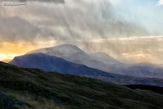 Cader Idris sunset snow flurry
