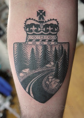 Blackwork Tattoos (tattoosthisway) Tags: highway road pinetree forest roadhome canada tattoo toronto aliek blackwork etchy woodblock scrimshaw tattoosthisway best