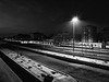 Railway station nightscene (drugodragodiego) Tags: brescia lombardia italy stazione railway station ferrovia notturno nightscene blackandwhite blackwhite bw biancoenero fujifilm fujifilmx30
