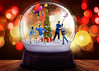 Snow Globe (Jenny Onsager) Tags: tree bokeh lights holiday xmas winter tabletop colorful red green table festive christmas card snowglobe family