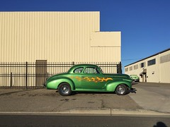Winter Green (misterbigidea) Tags: auto car custom vintage classic vrooom beauty industrial building streetview parked wishlist forsale flames meanmachine green hotrod chevy hotwheels chevrolet urban city cityscape coupe morning