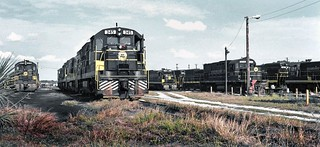 Seaboard Coast Line diesel electric locomotives are seen in the old and long gone railroad yard in Lakeland, Florida, 1974