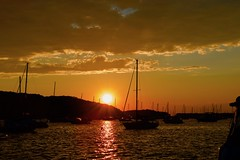 Harbor Sunset! (ineedathis, Everyday I get up, it's a great day!) Tags: sunset harbor northport huntington longisland newyork masts boats sailboats sea water trees clouds nikond750 seascape seaside reflection sunrays summer