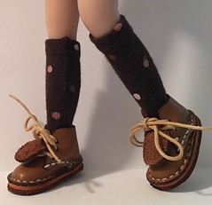 Brown Short Socks With Ivory, Rose and Tan Dots...For Blythe...