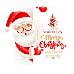 Santa Claus and Christmas greeting card (everythingisfivedollar) Tags: christmas merry vector santa claus cute cartoon comic humor holiday celebration greeting character cheerful fun xmas newyear party holding holds card banner poster flyer signboard sign sheet copyspace lettering text template letter winter headline invitation concept creative idea red white background scene illustration christmastree merrychristmas snow