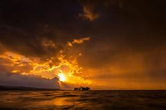 sunset 2927 (junjiaoyama) Tags: japan sunset sky light cloud weather landscape orange contrast color bright lake island water nature wave fall autumn sunburst rays beams