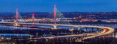 Mersey Gateway light trails (andyyoung37) Tags: merseygatewaycrossing uk bridge cheshire rivermersey twighlight runcorn england unitedkingdom gb