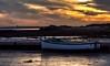 Stuck at low tide (Peter H 01) Tags: sunset boat pontoon lowtide mud langstone harbour mudflat goldenhour golden motorboat