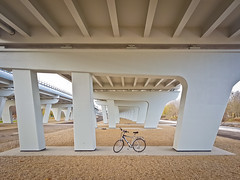 """Under the newly rebuild """"Katowicka"""" car overpass (Poznan, Poland) (dominikpl72) Tags: poznan poznań poland polska polen wielkopolska bicycle cycling autumn"""
