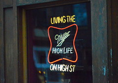 high life on high street (brown_theo) Tags: miller high life street neon columbus ohio short north