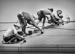 Fearless Roof Painters (FotoGrazio) Tags: 4 documentaryphotography filipino malate manila pacificislanders philippines streetphotography waynegrazio waynesgrazio worldphotographer blackandwhite composition dangerous dangerousjobs fearless fotograzio four hardwork labor paint paintbrush painters painting people roof sandals socialdocumentary streetscene unsafe