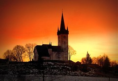 sunset over the church,Slovakia (majka44) Tags: church place slovakia red snow winter light evening travel