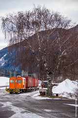 Mini freight (VTZK) Tags: churfilisurstmoritz rhb tm22 trein albulaalvra graubünden switzerland ch business train railscape railscapes freight transport transportation rail railroad sustainable logistics zug bahn mobility photo image spoorweg chemindefer spoorlijn cargo alps snow melting orange tree winter