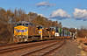 """Westbound Intermodal in Linwood, KS (""""Righteous"""" Grant G.) Tags: up union pacific railroad railway locomotive train trains west westbound ge power emd double stack intermodal container kansas"""