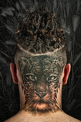 Eyes in the back of his head (Philip L Hinton A.R.P.S.) Tags: nikon ink tattoo hair poetry
