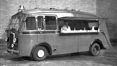 Dennis Mace Canteen Van. (Alan Farrow) Tags: london fire brigade firefighting lfb service canteen van vans vehicle vehicles kitchen kitchens mobile station d61 hot drinks biscuits side rear hatch 1957 1950s 50s fifties transport catering food drink support lcc cav lambeth hq open shelf serving
