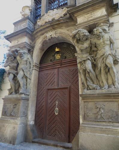 Atlantes, palais Clam-Gallas, Husova,  Stare Mesto, Prague, République tchèque.