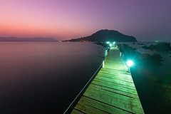Chanthaburi Sea View - Ao Khung Kraben Bay. (baddoguy) Tags: above backgrounds beach coastal feature coastline color image colored background copy space curve dawn deck electric lamp escape famous place horizon over water horizontal landscape local landmark long exposure no people nonurban scene outdoors pedestrian walkway peninsula photography rural scenics nature sea seascape silence sky street light sunrise thailand tourism tranquil travel destinations twilight waking up wood material