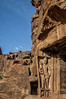The Guardian of a Holy HIndu Site or the Dwarpal at Badami Temple, Cave 1 (Anoop Negi) Tags: badami cave1 1 dwarpal guardian guard sculpture red sandstone monoilth karnataka unesco heritage hinduism india anoop negi ezee123 photo photography blue sky