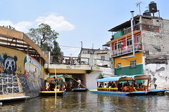 Bottleneck bridge (nickdippie) Tags: mexico xochimilco ciudaddemexico canal boat canalboat gondolier colourful