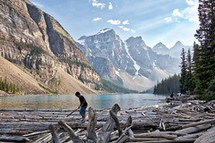 Summer Dreams (John Andersen (JPAndersen images)) Tags: banff branches clouds cloudy day geology inukshuk lake moraine mountains park rock smoke sunlight trees