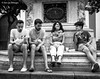 Amigos (Bart van Hofwegen) Tags: friends friend friendship youngsters youth people fun eat eating lunch salvador seville plazadelsalvador street city company blackandwhite monochrome candid group
