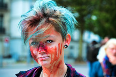 """""""Blood is really warm, it's like drinking hot chocolate but with more screaming."""" (Gilles,Gilles,Lemonpeel) Tags: zombiefantasticwalk zombie rouen seinemaritime nikon rawtherapee gimp portrait"""