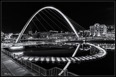 The Millennium Bridge, (stblackburn) Tags: millenniumbridge quayside newcastle northeast nighttime night gateshead mono bw