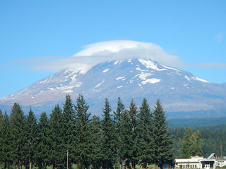 2014. Mt. Adams and a lenticular cloud. Taken near Trout Lake, Washington.