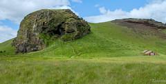 Loftsalahellir (cave) explored (einisson) Tags: loftsalahellir iceland cave house red mountain suðurland clouds grass rocks outdoor landscape nature einisson canon70d