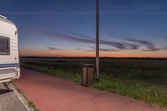 Drifters (Markus Lehr) Tags: caravan evening eveningsky lamppost bin clouds grass sundown nopeople peoplelessness humanartifacts manmadelandscape longexposure krausnick germany markuslehr