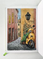 Scooter (Kate_Lokteva) Tags: artworks scooter sketch sketchbook italia мопед италия italy vespa скетч маркеры