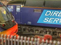 Photo of Peering over the security fence to see what's on shed - tonight it's scotrail 68007 and 47802